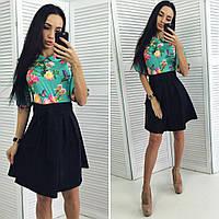 Платье приталенное, верх платья выполнен из шелка с цветочным принтом