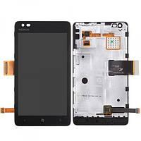 Дисплей для Nokia 900 Lumia + touchscreen, чёрный, с передней панелью
