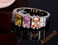Кольцо с кубический цирконий 3 цвета, размер 6 USA
