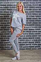 Костюм женский футболка +штаны светло-серый, фото 1