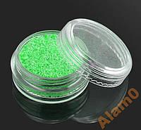 Светящиеся кристаллы для ногтей 3D песок зеленый