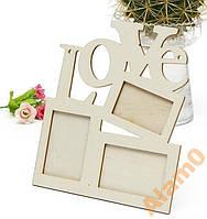 Деревянная рамка LOVE заготовка для декорирования