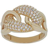 Модное золотое кольцо с цирконием