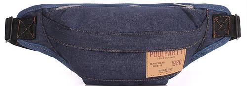 Джинсовая сумка на пояс  POOLPARTY bumbag-jeans