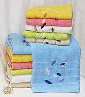 Полотенце банное Листья голубые
