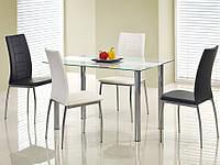 Кухонный стеклянный стол Halmar Curtis с белой полоской вдоль прозрачной столешницы