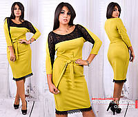 Платье с кружевом Midi батальные размеры. (цвета в ассортименте)