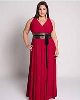 Длинное платье в пол без рукавов с атласным широким поясом