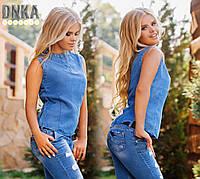 Женская рубашка без рукавов из тонкого джинса