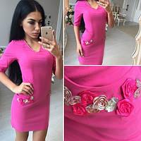 Платье короткое с отделкой из тканевых цветов 3 цвета SMol617