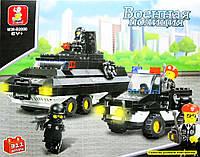 Конструктор пластмассовый M38-B2000: БТР, машинка и 4 полицейских на страже порядка