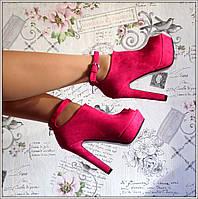 Ботильоны Босоножки Туфли женские замшевые розовые высокий каблук