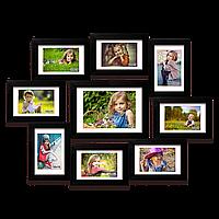 Деревянная мультирамка-коллаж Эрика на 9 фотографий черная вид второй