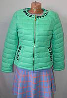 Куртка стеганая короткая с камнями в цветах Х 7105