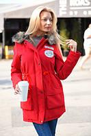 Женская демисезонная куртка-парка с искусственным мехом на капюшоне