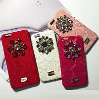 """Iphone 6/6s 4.7 оригинальный кожаный чехол панель бампер накладка КРУЖЕВО стразы камни DG """" Dolce & Gabbana """""""