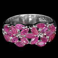 """Ажурное  кольцо """"Цветник """" с рубинами  размер 18,8 от студии LadyStyle.Biz"""