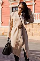 Элегантный женский длинный кардиган на поясе с рукавом