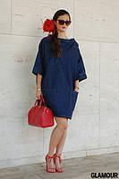 Короткое джинсовое платье свободного покроя с карманами
