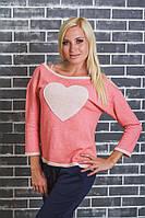 Кофта трикотажная с сердцем розовая, фото 1