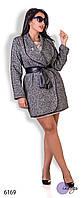 """Пальто женское из букле больших размеров """"Шанэль брошка"""""""