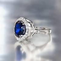 """Серебряное кольцо """"Итальянка"""" с синим кубическим цирконием"""