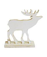 Декоративная игрушка Олень на подставке белый 10 см