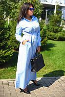 Женское длинное платье-рубашка на поясе с коротким рукавом