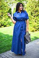 Женское длинное платье-рубашка на поясе из коттон-джинса