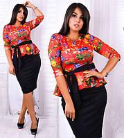 Нарядное платье с баской большой размер