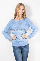 Кофта пуловер женская голубая Кристина р.46