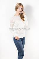 Кофта пуловер женская белая Роксолана р.48