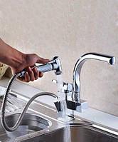 Двойной смеситель для умывальника ( раковины) или кухни с лейкой P24