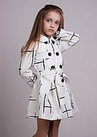 Модный детский плащ на крупных пуговицах с поясом ( белый)