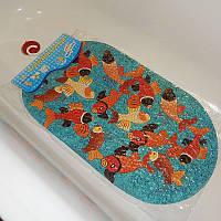 Антискользящий не скользящий коврик в ванную и душевую кабинку Золотые рыбки