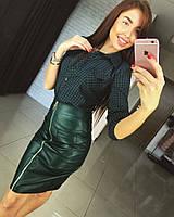 Женская модная кожаная юбка с карманами (3 цвета)
