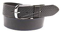 Качественный кожаный мужской ремень высокого качества черного цвета один стежок MASCO 4.5 см Украина