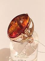 Кольцо золотое с янтарем,583 проба СССР
