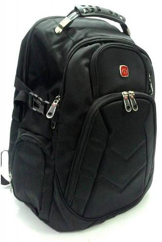 Мужской городской рюкзак с переходником для наушников 7633 черный