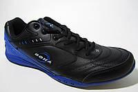 Мужские кроссовки Bona кожаные, черные с синим(Большие размеры) 47 48 49
