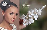 """Свадебная заколка для волос цветами  """"Воздушный айвори""""10см"""