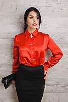 Стильная атласная блуза на классического фасона