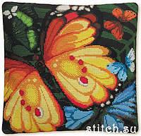 Набор для вышивания крестом «Подушка Экзотические бабочки» (1119), Риолис