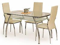 Кухонный стеклянный стол EDGAR HALMAR с прямоугольной столешницей