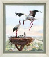 Набор для вышивки крестом Аисты в гнезде