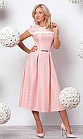 Женское нарядное платье длиной миди пудрового цвета с поясом в комплекте. Модель 944.