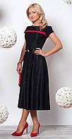 Женское вечернее платье черного цвета длиной миди с коротким рукавом из коллекции осень 2016. Модель 944.