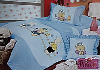 Детское постельное белье 160х215 Сатин голубой