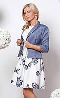 Женский костюм: платье молочного цвета с пышной юбкой + короткий жакет в английском стиле.