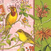 Салфетка декупажная Две жёлтые птицы 6062